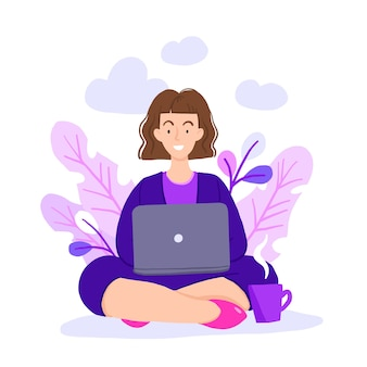 Vector illustration of internet assistant at work.