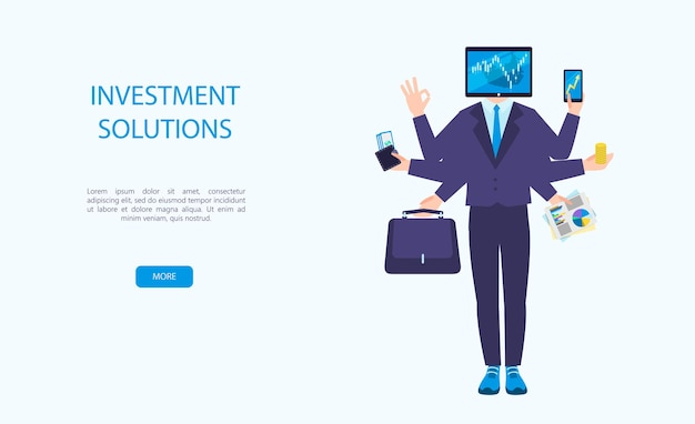 Vector illustration of investments a man with six arms and a monitor for a head