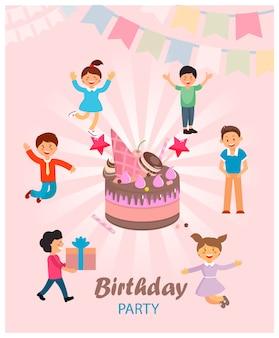 Vector illustration is written birthday party.