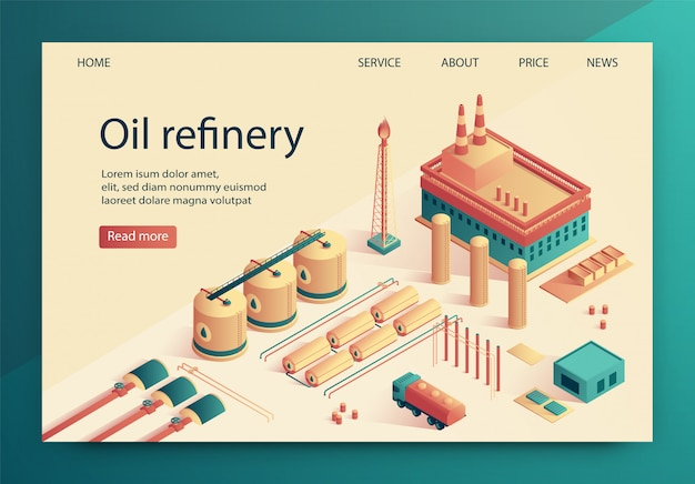 Vector illustration is written oil refinery slide.