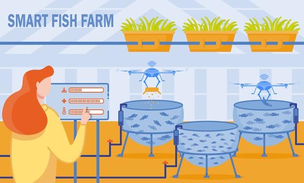 Vector illustration is written smart fish farm.