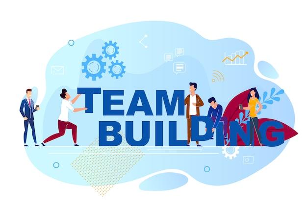 Vector illustration is written team building.