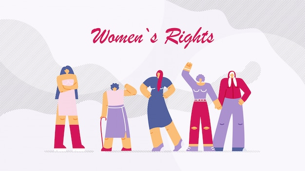 Vector illustration is written womens rights.
