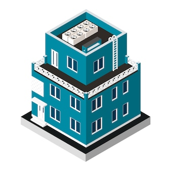 Vector illustration isolated. modern house. urban dwelling building with a windows and air-conditioning