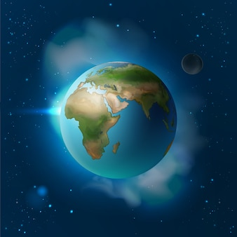 Vector illustration isolated planet earth in space with moon and stars