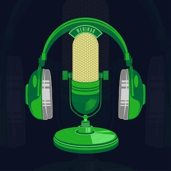 Vector illustration of isolated retro and vintage microphone