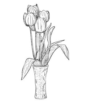 Векторная иллюстрация, букет изолированных тюльпанов в вазе черного и белого цветов, оригинальный контур, раскрашенный вручную