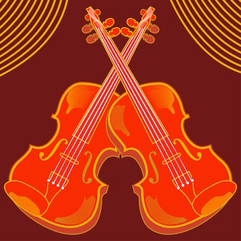 Vector illustration of isolated violin