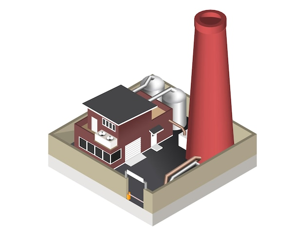 Vector illustration isolated on white background. isometric icon representing factory building with a pipe, cisternae, fence with a barrier.