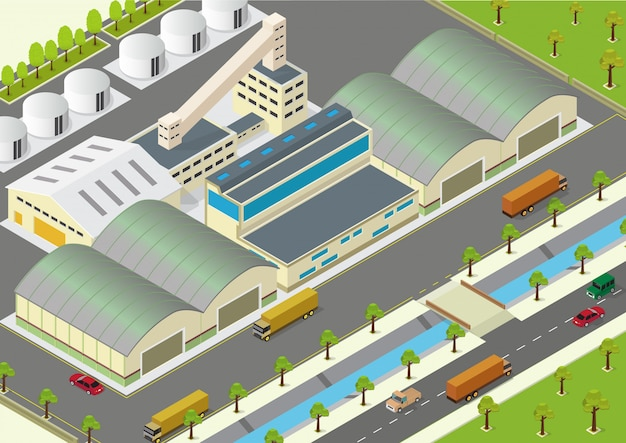 Vector illustration of isometric factory, warehouse exterior and unloading delivery