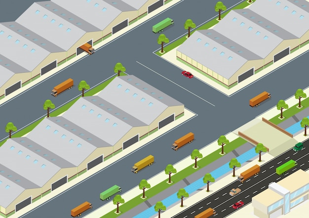 Vector illustration of isometric warehouse exterior and unloading delivery vehicles