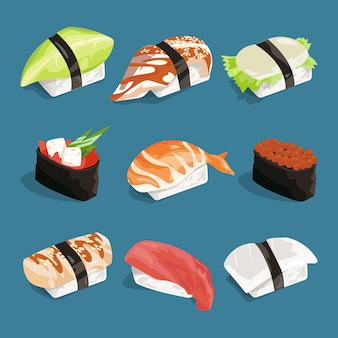 Vector illustration of japanese classical food.
