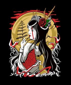 Vector illustration of japanese kimono girl