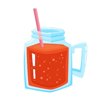 Vector illustration of jar with fresh red smoothie and straw isolated on white