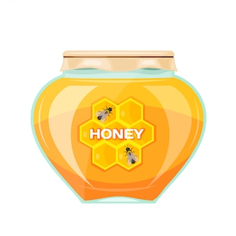 Vector illustration jars of honey on a white background. isolate. glass jar with a yellow honey, paper cover and label. stock vector illustration