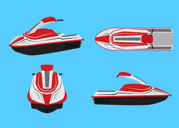 Vector illustration of jet ski vector set