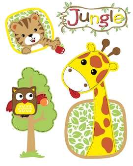 Vector illustration of jungle animals cartoon