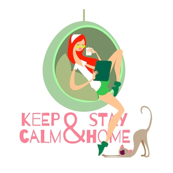 Vector illustration keep calm and stay home. girl and cat at home