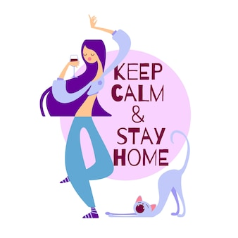 Vector illustration keep calm and stay home. girl dancing