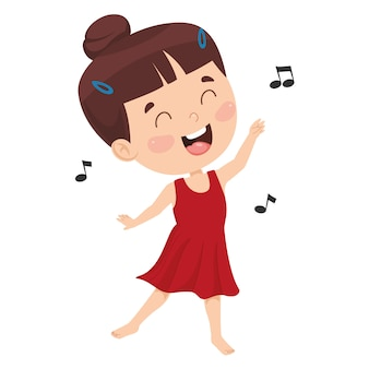 Vector illustration of kid dancing
