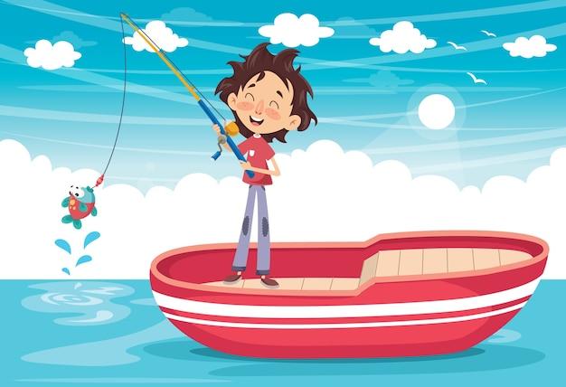 Vector illustration of a kid fishing