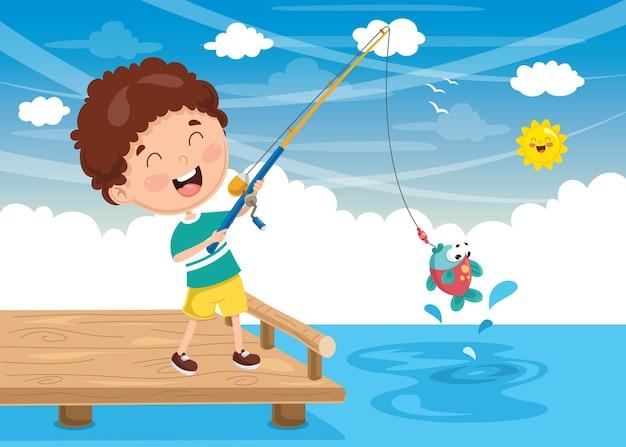 Vector illustration of kid fishing