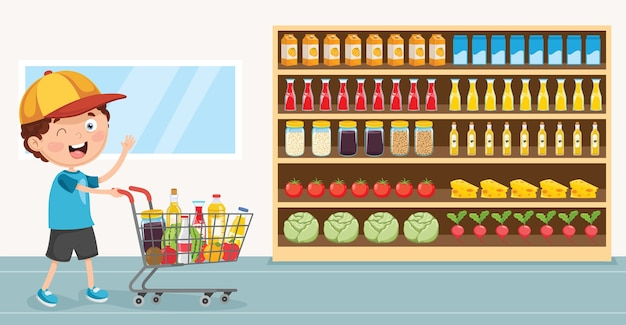Vector illustration of kid grocery