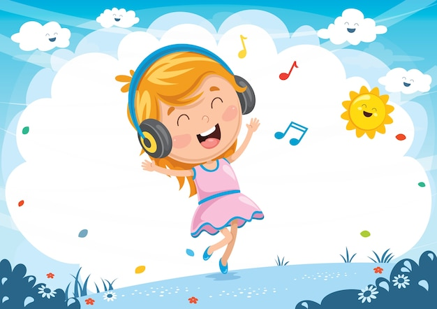 Vector illustration of kid listening musi