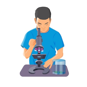 Vector illustration of kid looking in microscope on white background