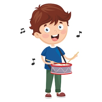 Vector illustration of kid playing drum