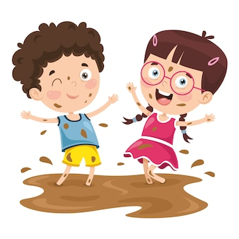 Vector illustration of a kid playing in mud