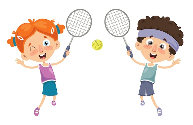 Vector illustration of kid playing tennis