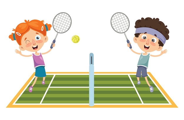Vector illustration of kid playing tennis