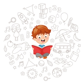 Vector illustration of kid reading book