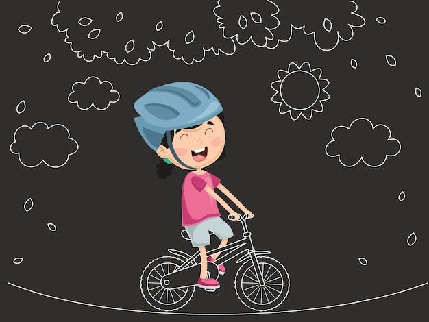 Vector illustration of kid riding bike