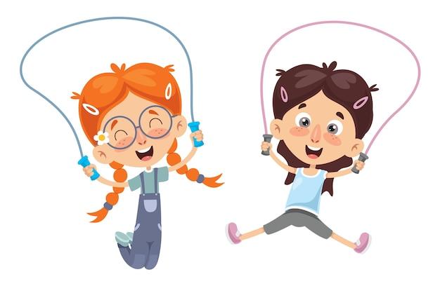 Vector illustration of kid skipping rope