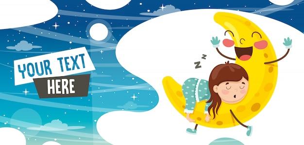 Vector illustration of kid sleeping on moon