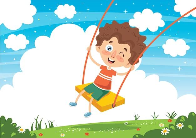 Vector illustration of kid swinging