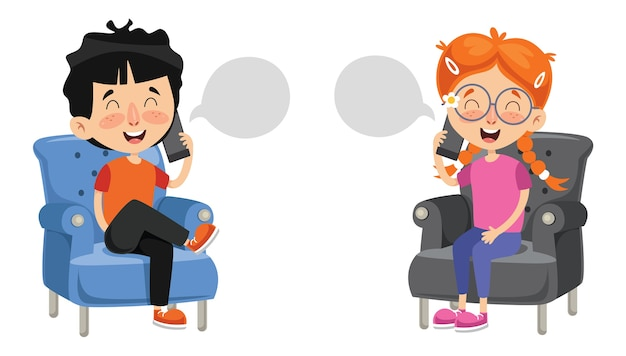 Vector illustration of kid talking on phone