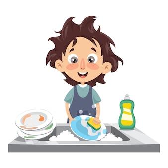 Vector illustration of kid washing dishes