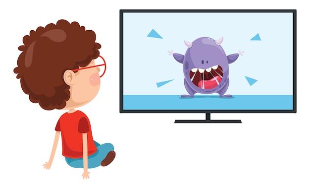 Vector illustration of kid watching tv