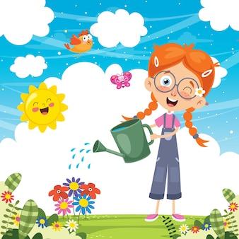 Vector illustration of kid watering flowers