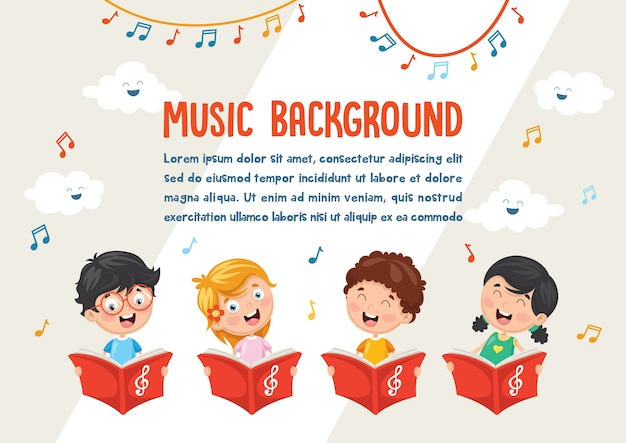 Vector illustration of kids choir
