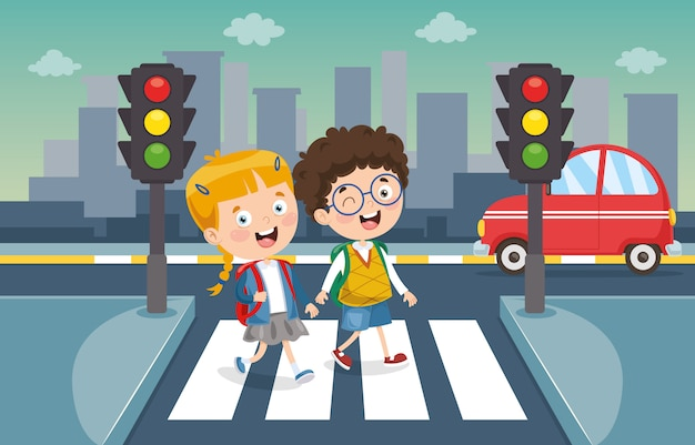 Vector illustration of kids crossing traffic