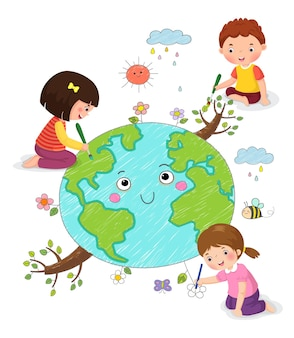 Vector illustration of kids drawing the earth