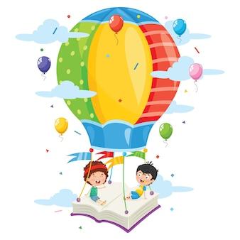 Vector illustration of kids flying hot air balloon