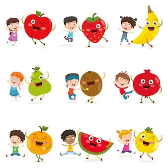 Vector illustration of kids and fruit characters