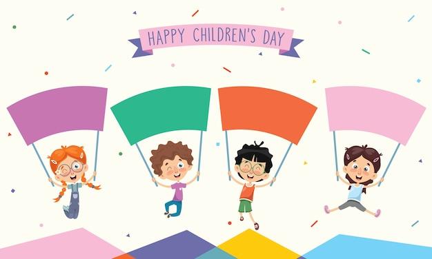 Vector illustration of kids holding placard