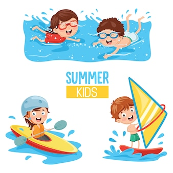 Vector illustration of kids making water sports
