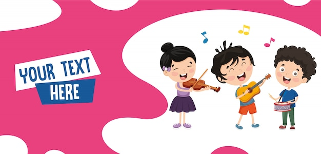 Vector illustration of kids music